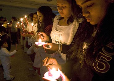 A candle-light vigil for the victims of 26/11