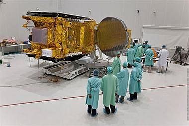 The preparation for the launch of GSAT-8