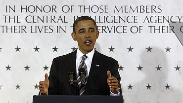 US President Barack Obama speaks during a visit to CIA headquarters in Langley