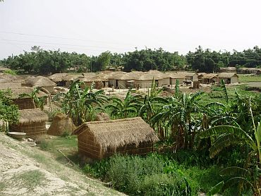 The villagers now take shelter under straw huts