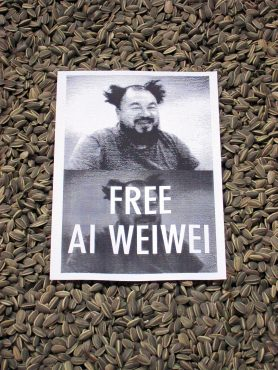 A poster at Tate Modern entitled Sunflower Seeds, by Ai WeiWei, in central London