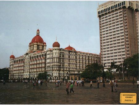 An exhibit by the US attorney's office in the ongoing trial of Tahawwur Rana in a Chicago court shows a picture of Taj Mahal hotel in Mumbai (site of 26/11 strikes) that was in David Headley's possession