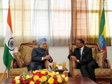 PM Manmohan Singh in a meeting with Ethiopian Dy PM Hailemariam Desalegn
