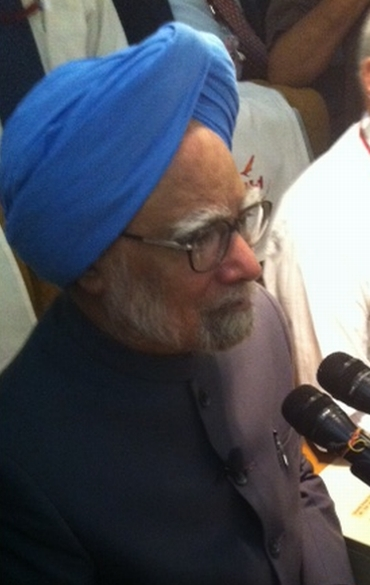 Prime Minister Manmohan Singh on board Air India One