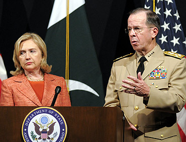 US Admiral Mike Mullen Chairman of the Joint Chiefs of Staff speaks during a joint news conference with Secretary of State Hillary Clinton,  at the US embassy in Islamabad