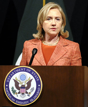 US Secretary of State Hillary Clinton speaks during a news conference at the US embassy in Islamabad