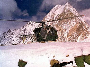 A Pakistan army helicopter lands at the Siachen glacier