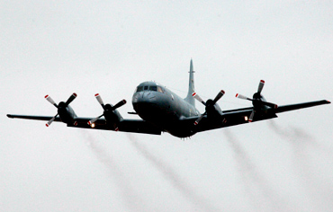 Pakistan's P3C Orion aircraft takes off from a naval aviation base
