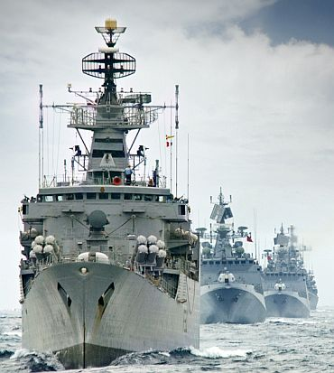Indian Navy ships in action