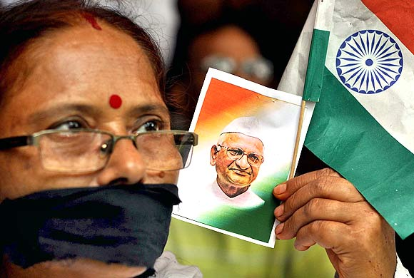A rally in support of activist Anna Hazare