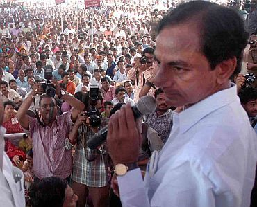 Telangana Rashtra Samithi K Chandrasekara Rao addressing a gathering in Hyderabad