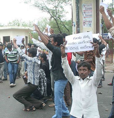 File image of pro-Telangana students agitating in Hyderabad