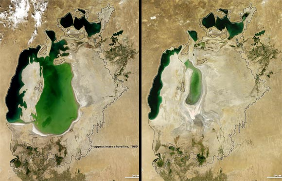 (Left) Image taken on August 19, 2000. (Right) Image taken on August 15, 2011