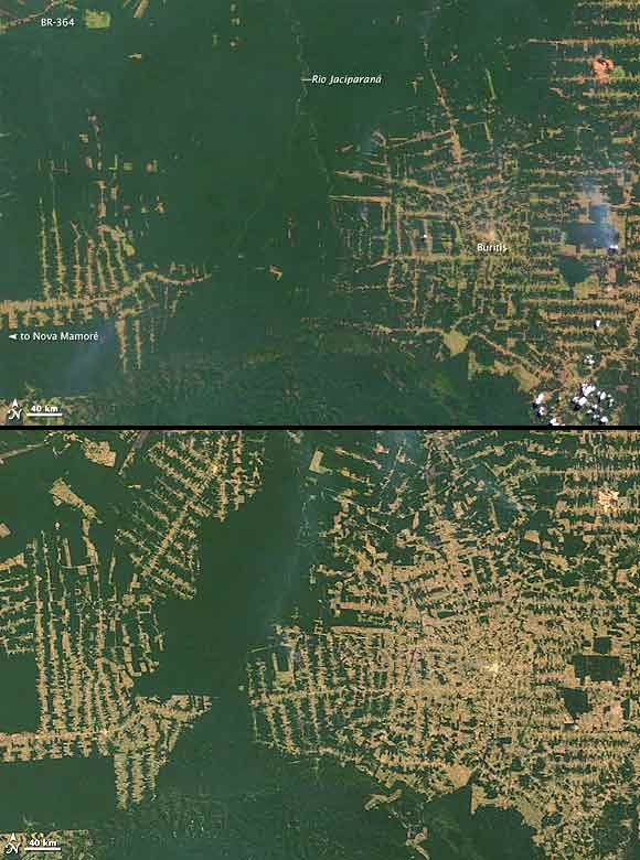 Top image taken on July 20, 2000. Lower image taken on August 2, 2010