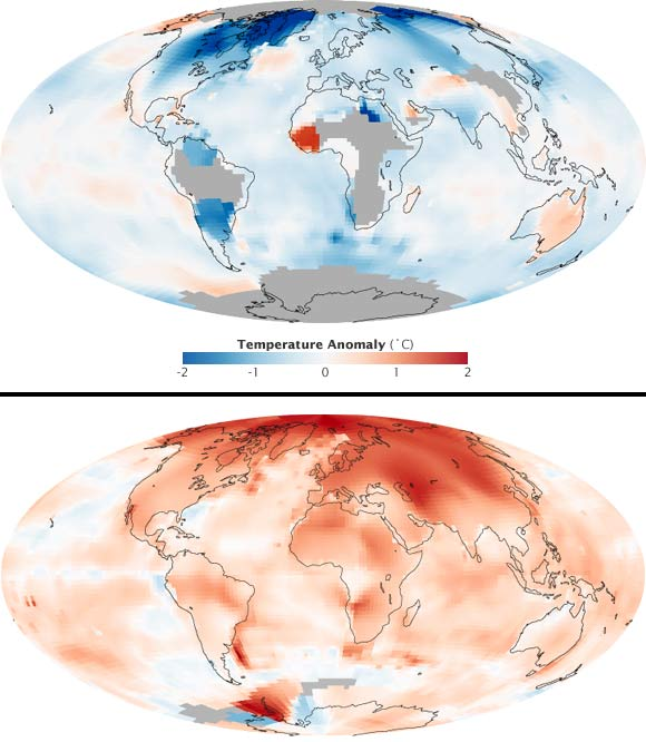 Upper image shows global temperatures between 1880 and 1889. Lower map shows the trend between 2000 and 2009
