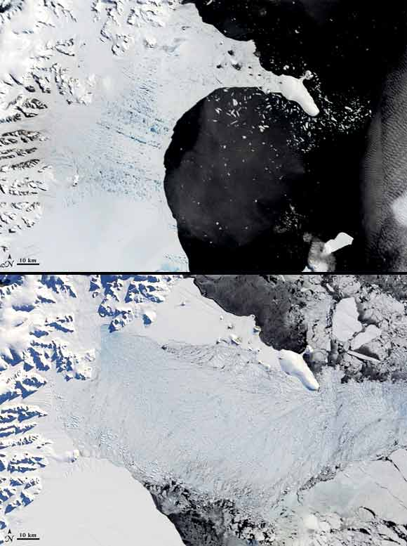 Top image taken on January 31, 2002. Lower image taken on April 13, 2002