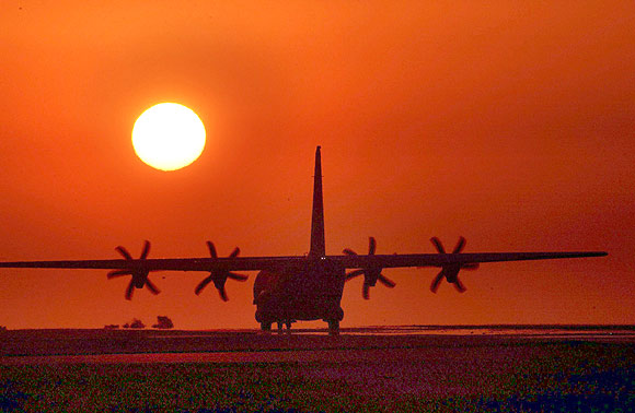 A C-130 Hercules support aircraft