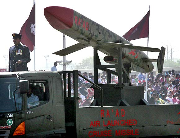 Pakistan's nuclear-capable air-launched 'Ra'ad' cruise missile is driven past during the National Day military parade in Islamabad