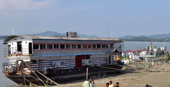 Floating restaurant on the Brahmaputra river