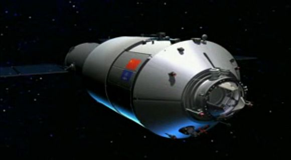 This artist's illustration from a China space agency video shows the Tiangong 1 space laboratory, a prototype module for the country's planned space station