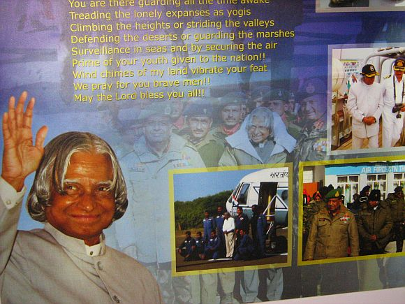 A collage of various images of Dr Abdul Kalam at his museum in Rameswaram