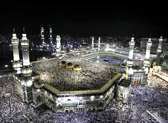 Pilgrims circle the Kaaba at the Al-Masjid al-Haram (Grand mosque) in Mecca