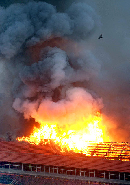 A major fire is seen in the Mumbai dockyard area on Thursday