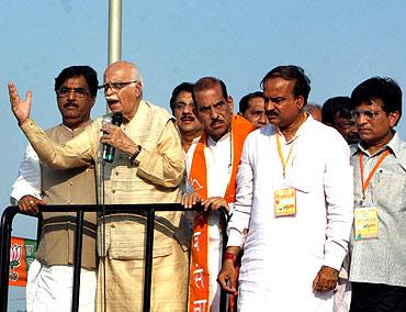 BJP leader L K Advani on his 'Jan Chetna Yatra' in Mumbai