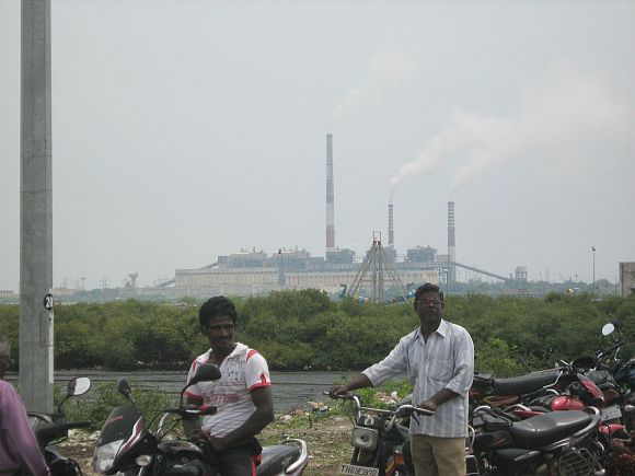 The Tuticorin Thermal plant in the background of the protest venue