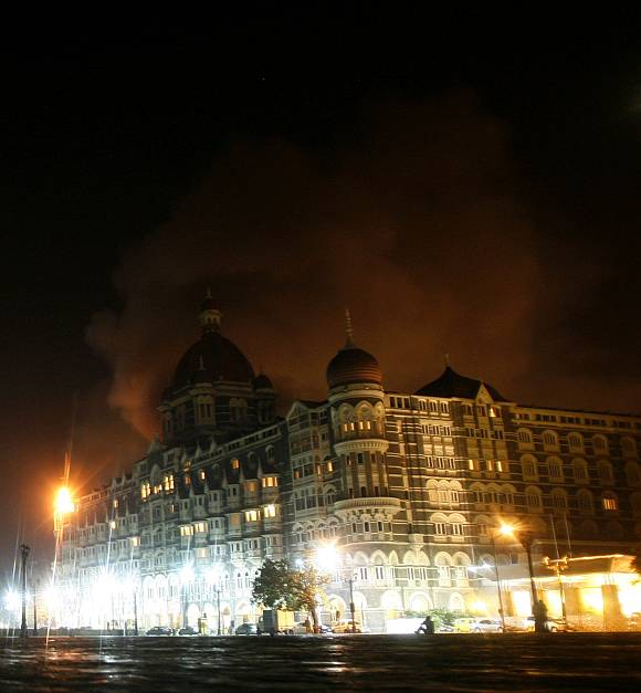 Smoke is seen coming from Taj Hotel in Mumbai during the 26/11 attacks.