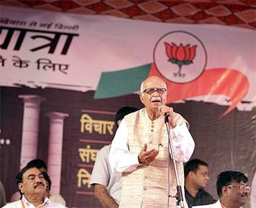 At L K Advani's Jan Chetna yatra