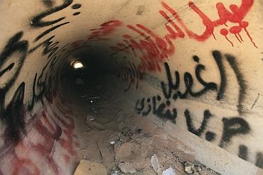 A view of the drain where Muammar Gaddafi was hiding before he was captured in Sirte