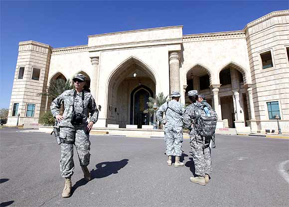 US soldiers tour at Victory Base Compound before it is handed over to the Iraqi government in Baghdad