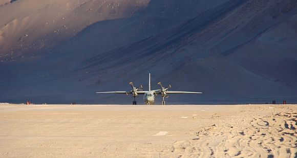 AN-32 transport aircraft landing at the Nyoma airstrip in Ladakh