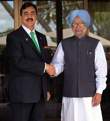 Prime Minister Manmohan Singh with Pakistan PM Yousuf Gilani on the sidelines of the Saarc Summit in Maldives.