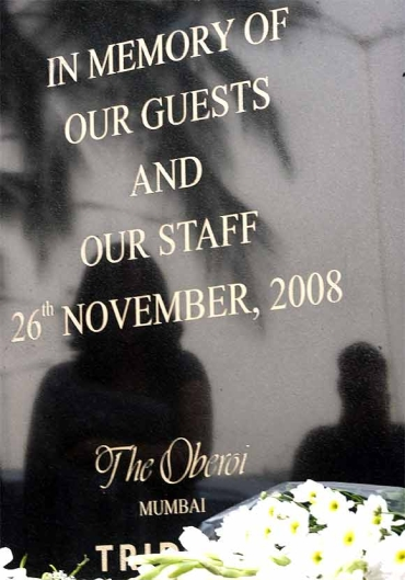A memorial monument outside Trident-Oberoi hotel