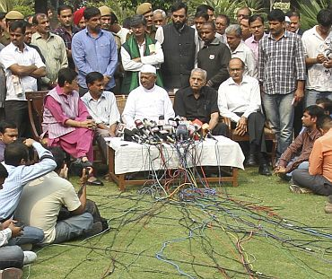 File image of Anna Hazare along with associates Arvind Kejriwal, Kiran Bedi, Shanti Bhushan and Prashant Bhushan interacting with the media