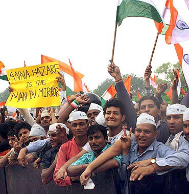 Supporters of Anna Hazare at Ramlila Ground in New Delhi