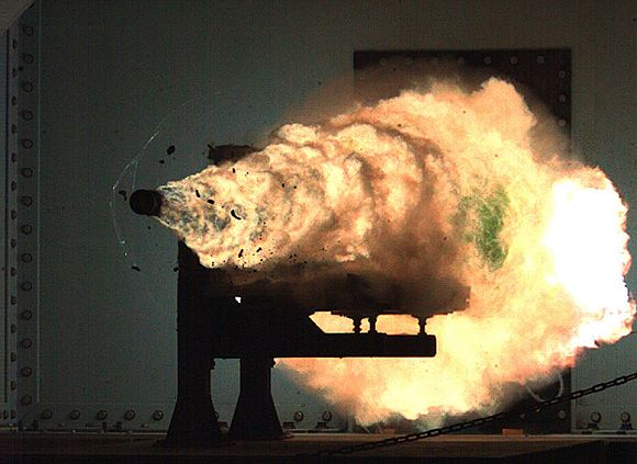 Photograph taken from a high-speed video camera during a record-setting firing of an electromagnetic railgun at Naval Surface Warfare Center in Dahlgren, US, on January 31, 2008.
