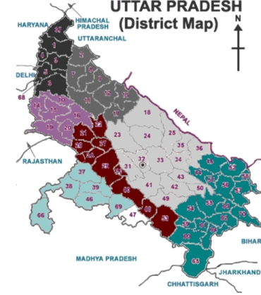 The map of Uttar Pradesh