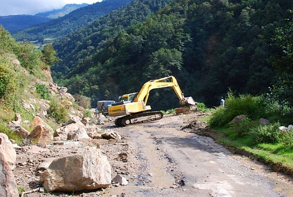 Construction work in progress on a road near Tawang