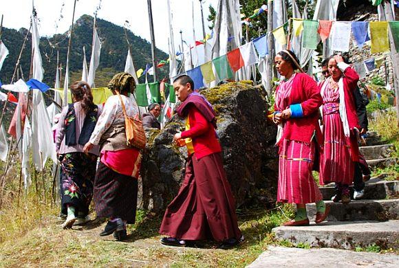 Buddhist pilgrims in Tawang monastery