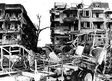 File picture of a damaged building in the 1993 Mumbai blasts