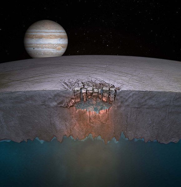 Artist's concept of Europa's Great Lak