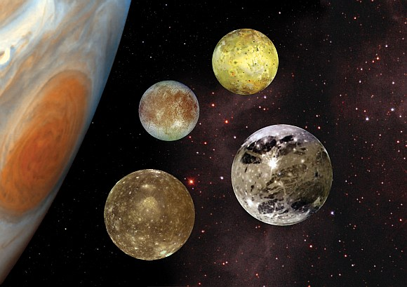 A comparison portrait of Jupiter's four Galilean moons Io, Europa, Ganymede, and Callisto, each with different characteristics. In this image composite, Jupiter is not at the same scale as the satellites.