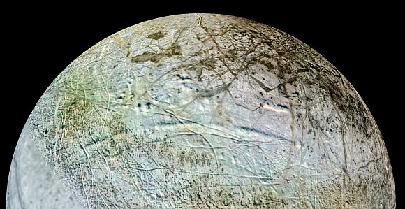 This view shows what the concentric circles might look like on Europa if viewed from a low-orbit spacecraft approaching from the east. The arc-shaped trough in the foreground is roughly 980 feet deep.