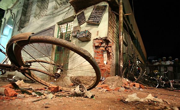 A damaged part of a mosque hit by a blast in Malegaon