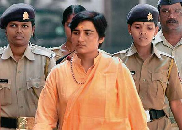 File picture of Malegaon blast accused Sadhvi Pragya Singh Thakur in police custody