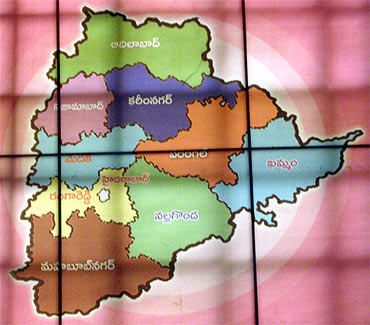 Map of Telangana in the office of Telangana Rashtra Samithi