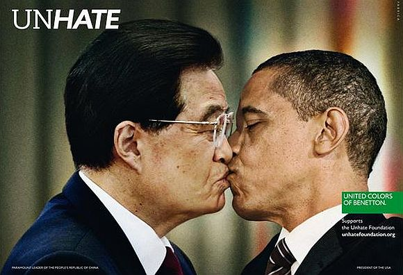 Ad shows US President Barack Obama kissing his Chinese counterpart Hu Jintao